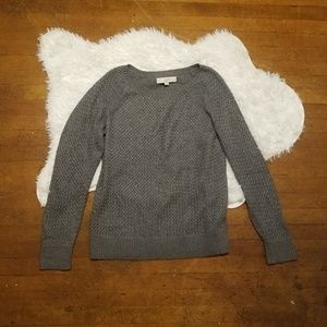 Loft cable knit gray pullover sweater L knit